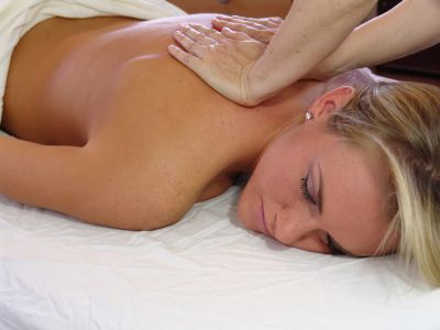 Woman receiving massage therapy in Peachtree City